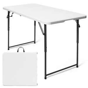 4ft Camping Kitchen Utility Folding Table Height Adjustable Indoor Outdoor White