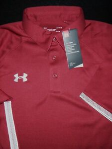 NEW UNDER ARMOUR GOLF POLO SHIRT L MAROON RED WHITE STRETCH HEAT GEAR $23.99