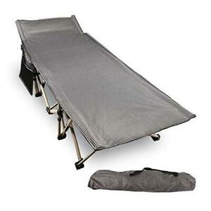 Folding Camping Cots for Adults 500lbs Double Layer Oxford Strong Heavy Grey
