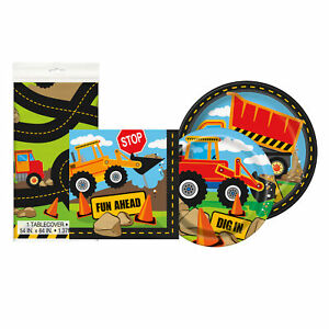 Construction Party Disposable Plates Napkins Tablecloth Party