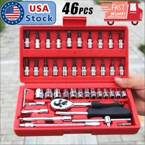 46pcs 1 4 Ratchet Wrench Combination Package Socket Tool Set Auto Car Repairing