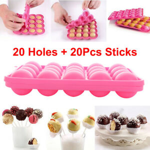 Silicone Pop Cake Mould Cupcake Baking Mold Tray Lollipop Party 20Pcs Sticks $12.66