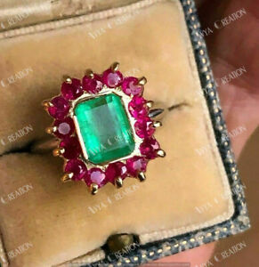 3.55Ct Vintage Green Emerald amp; Ruby 14K Two Tone Gold Finish Cocktail Ring