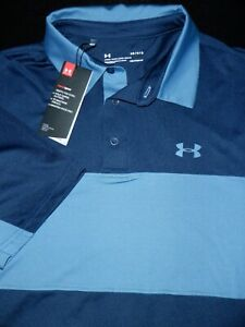 NEW UNDER ARMOUR GOLF POLO SHIRT L BLUE NAVY STRIPE SOFT STRETCH HEAT GEAR $26.99