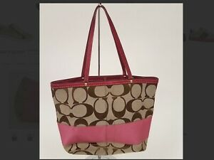 COACH Signature Tote Bag Brown with Pink TRIM MSRP$295.00