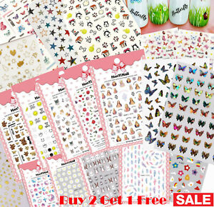Nail Stickers Art Decal DIY Design Waterproof 3D Butterfly Heart Letters Gold US $3.39