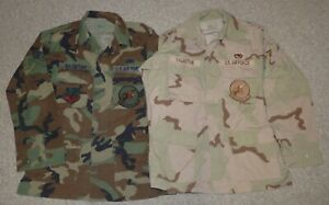 Original Named BDU DCU Camouflage Shirts USAF 27th Fighter Squadron Lot of Two