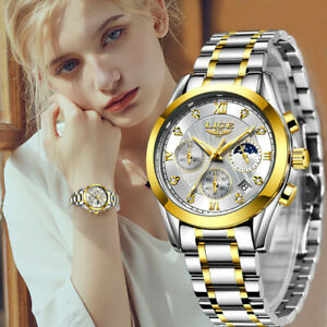 LIGE 2020 New Gold Watch Women Watches Ladies Creative Steel Women#x27;s Bracelet Wa