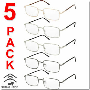 Reading Glasses Mens Womens Square Spring Hinge Unisex 5 Pack New Style Look $12.95