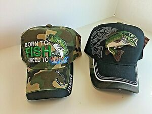 NWT Fishing Caps quot;Born to Fish Forced to Workquot;