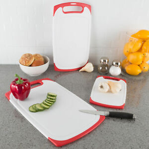 Plastic Cutting Board Set of 3 Chopping Boards Juice Groove Dishwasher Safe $16.00