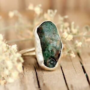 Raw Emerald Sterling Silver Rings for Women Stone Natural Uncut Gemstone Crystal $38.95