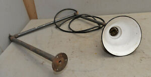 Antique machine lamp 3 arm articulating light collectible green porcelain shade $229.99
