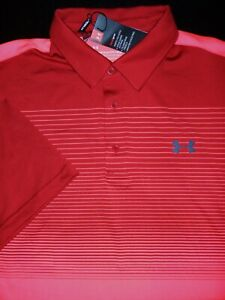 NEW UNDER ARMOUR GOLF POLO SHIRT L MAROON RED PINK STRIPE STRETCH HEAT GEAR $21.99