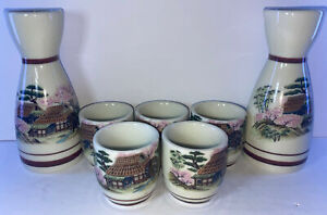 Asian Porcelain Satsuma Sake Set 7 Piece Set Outdoor Scene Marked