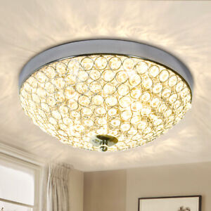 Modern Crystal Chandelier Lamp Flush Mount Ceiling Light Pendant Fixture 2 Light