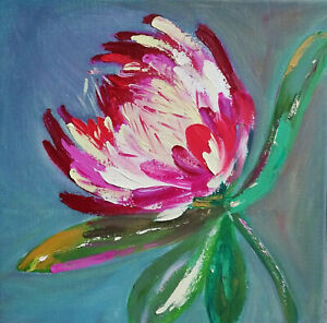 Oil Original painting Flower on canvas size 12x12 inches $65.00