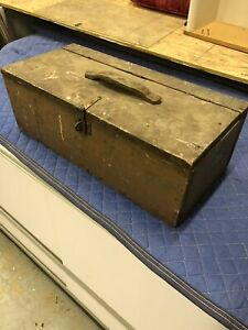 ***WOW***VINTAGE***ANTIQUE BOX***LOOK 1920 1940#x27;s old box with leather handle $49.99
