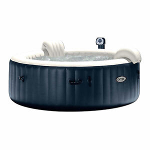 Intex PureSpa 6 Person Portable Inflatable Round Hot Tub Jet Spa w Cover Blue