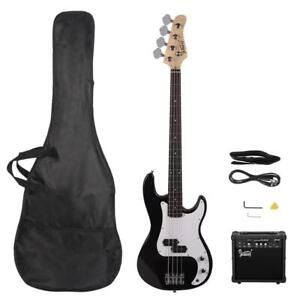 New Basswood Right Handed Electric Guitar Bass with 20W AMP Black Color