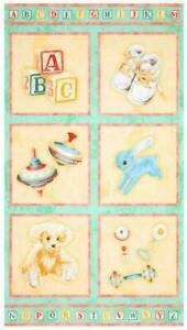 Baby Teddy Rattle Cotton Sewing Quilting Panel Fabric Bolt End Raw Edge #1 $4.75