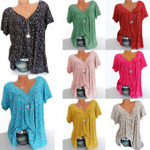 Plus Size Women Short Sleeve T Shirt V Neck Summer Casual Floral Blouse Tops Tee
