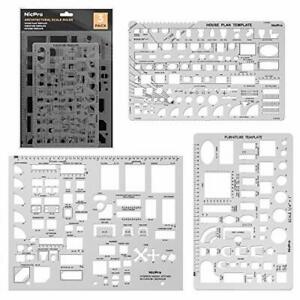Architectural Templates House Plan Interior Design Geometry Drafting Ruler Tools $10.61