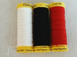 lot of 3 colors of GUTERMANN Sewing ELASTIC thread Red Black White $11.99