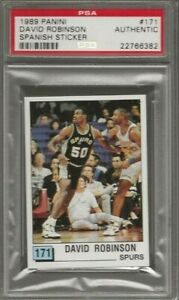 1989 90 Panini David Robinson Rc Spanish Sticker 171 Spurs Rookie PSA Authentic