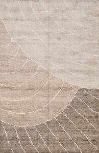 Contemporary Abstract Geometric Oriental Area Rug Wool Silk Hand Knotted 4x6 ft $191.73