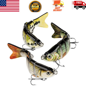 3 Pack Bass Fishing Lure Topwater Bass Lures Fishing Multi Jointed Swimbait New
