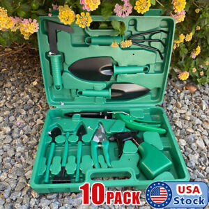10pc Garden Tool Set Vegetable Flower Gardening Hand Tools Kits w Carrying Case
