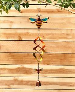 COLORFUL BUMBLE BEE THEMED WIND SPINNER WITH CHIME GARDEN PORCH DECK DECOR