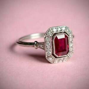 2Ct Emerald Cut Red Ruby 14K White Gold Over Halo Engagement Ring For Women#x27;s.