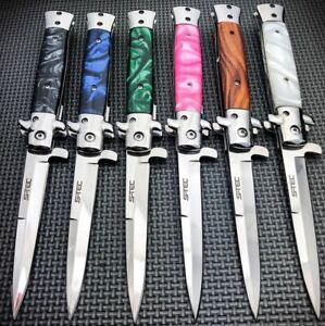 9quot; Classic Italian Milano Spring Assist Open Folding Stiletto Pocket Knife Blade $13.95