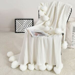 Decorative Sofa Throw Blanket Cotton Soft Pom Pom Tassels Knit Couch Bed White
