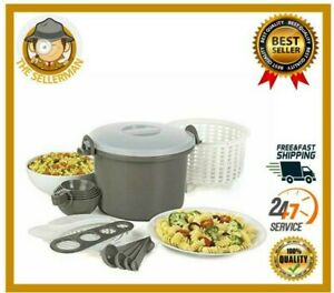 Prep Solutions Microwave Rice Pasta Cooker 17 Piece Set 12 Cup Gray New