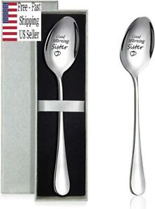 2 Packs Good Morning Sister Spoon Stainless Steel Spoon with Silver boxes