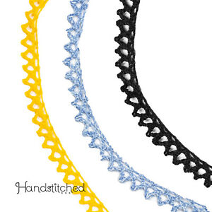 Colored crochet lace for sewing black blue yellow Small cluny lace $4.85