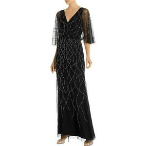 Adrianna Papell Womens Beaded V Neck Evening Formal Dress Gown BHFO 7056 $45.89