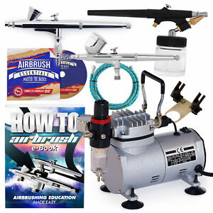 Airbrush Kit with 3 Guns New Dual Action