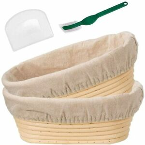 AMONOY 10 Inch Oval Shaped Bread Banneton Proofing Basket 2 Pack