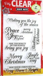 Merry Christmas Message Poly Clear Acrylic Stamp Set by Hero Arts Stamps CL722 $8.49