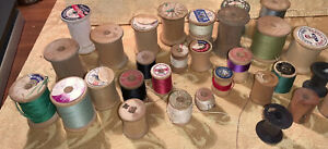 Vintage Wooden Sewing Spools Some Thread Lot Of 30 Variety $11.50