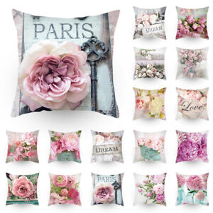 US PEONY FLOWER POLYESTER CUSHION COVER PILLOW CASE HOME SOFA DECOR 45X45CM