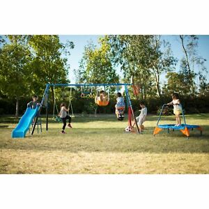 FITNESS REALITY KIDS #x27;The Ultimate#x27; 8 Station Sports Series Metal Swing Set with $212.99