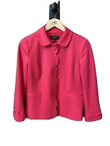 Talbots Petite Pink Cotton Long Sleeve Lined Button Up Coat Size 8P