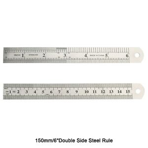 Double Side Metal Ruler Stainless Steel 15cm 6quot; E U9 $4.99
