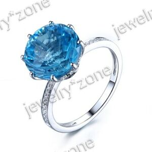 Solid 14K White Gold Swiss Blue Topaz Solitaite Engagement Wedding Fine Rings $415.00