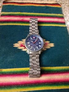 Wenger Swiss Army 536.0765 COMMANDO Mens All Stainless Military Chronograph $110.00